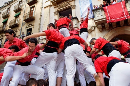Stock Photo: 1566-830900 Celebrating a great success Colla Joves Xiquets de Valls ´Castellers´ is a Catalan tradition Fira de Santa Úrsula Valls  Tarragona province, Spain