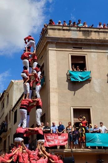 Colla Vella dels Xiquets de Valls ´Castellers´ building human tower, a Catalan tradition  Vilafranca del Penedès  Barcelona province, Spain : Stock Photo