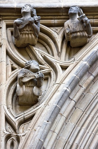 Angel musician in San Ivo Portal Gothic Cathedral in Barcelona - Catalonia - Catalonia - Spain : Stock Photo