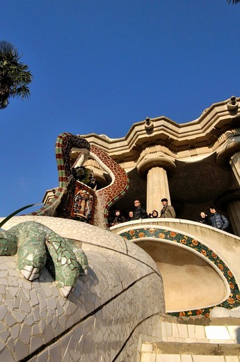 Park Güell. Garden complex with architectural elements situated on the hill of el Carmel. Designed by the Catalan architect Antoni Gaudí and built in the years 1900 to 1914. UNESCO World Heritage. Gràcia district of Barcelona. Catalonia, Spain : Stock Photo