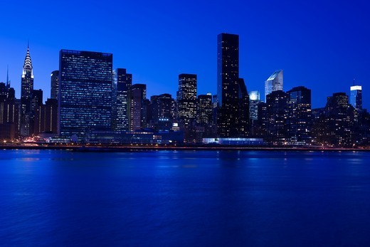 Stock Photo: 1566-832909 MIDTOWN SKYLINE EAST RIVER MANHATTAN NEW YORK CITY USA