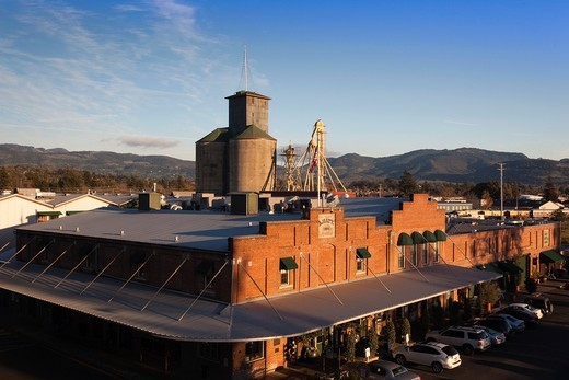 Stock Photo: 1566-833298 USA, California, Northern California, Napa Valley Wine Country, Napa, renovated warehouses along the Napa River, elevated view