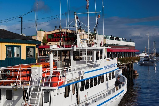 Stock Photo: 1566-833326 USA, California, Central Coast, Monterey, Fishermans Wharf, tourist boat