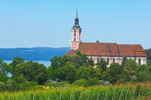 Stock Photo: 1566-833767 Birnau, Monastery Birnau, Birnau sanctuary, Marian pilgrimage church, Baden-Wuerttemberg, Germany, Lake constance, Bodensee, Europe.