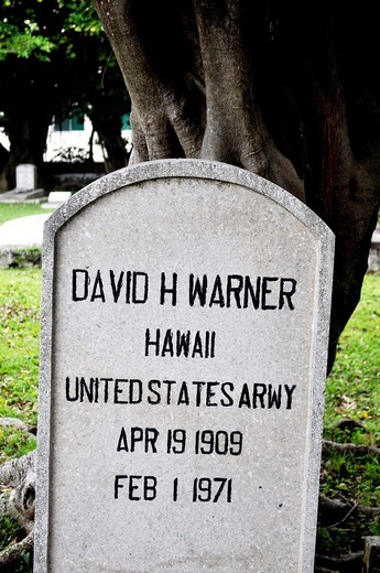 Naha (Japan): grave of an American soldier at the Foreign Cemetery : Stock Photo