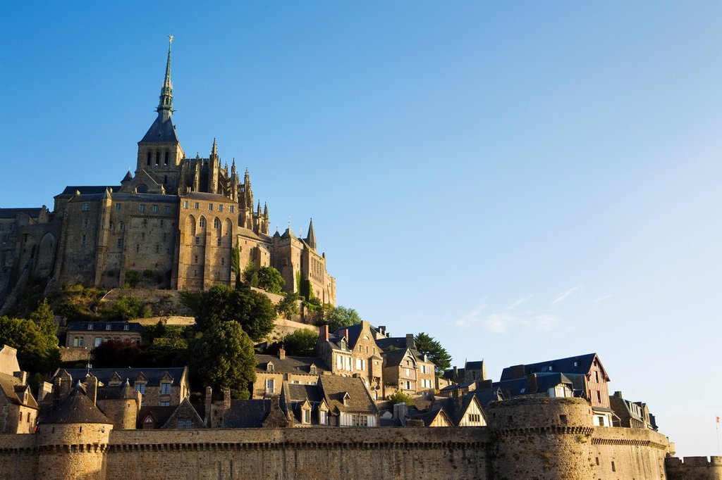 Stock Photo: 1566-834306 Overview of Mont-Saint Michel abbey, listed as World Heritage by UNESCO, Manche department, Lower Normandie region, France