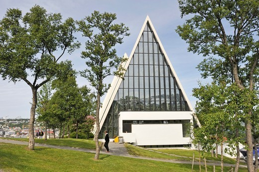 Stock Photo: 1566-834609 the Tromsdalen Church known as The Arctic Cathedral Tromso County of Troms, Norway, Northern Europe