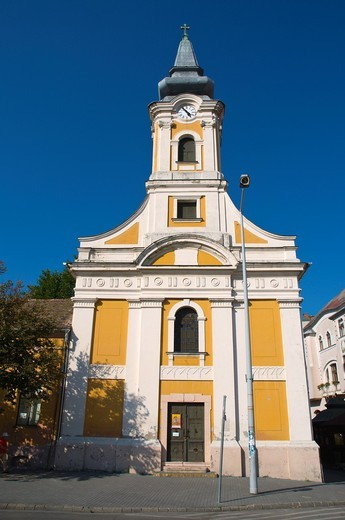 Neo-classical Greek Catholic Church 1829 built for Greek settlers central Kecskemet Hungary Europe : Stock Photo
