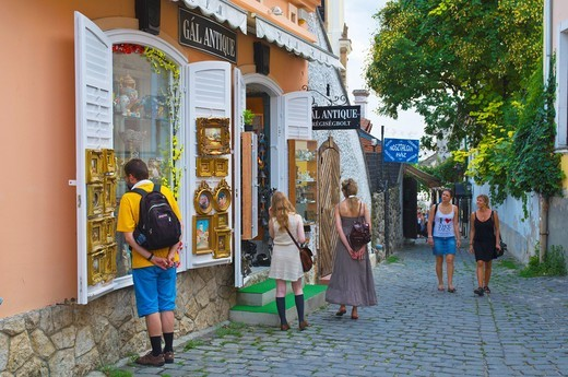 Antique shop Szentendre town in the Danube bend Hungary Europe : Stock Photo