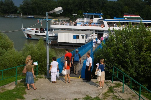 Stock Photo: 1566-834693 Mahart ferry pier central Szentendre town in the Danube bend Hungary Europe