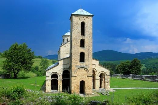 Holy Trinity church of Sopocani Monastery c  1260 near Novi Pazar, Raska district, Serbia : Stock Photo