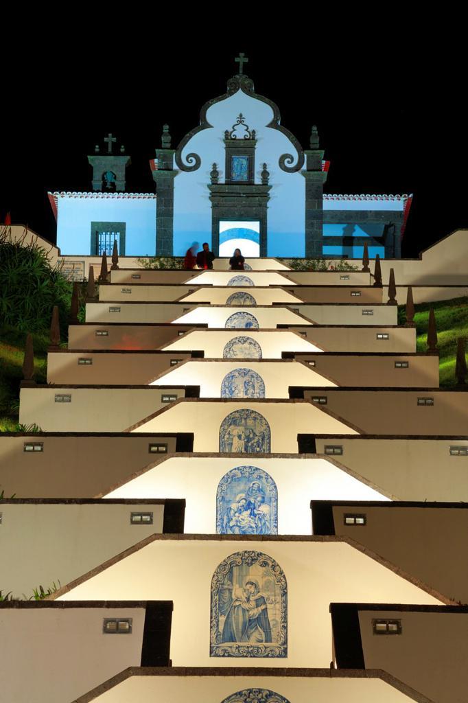 Our Lady of Peace chapel Nossa Senhora da Paz at night  Vila Franca do Campo  Sao Miguel island, Azores islands, Portugal : Stock Photo