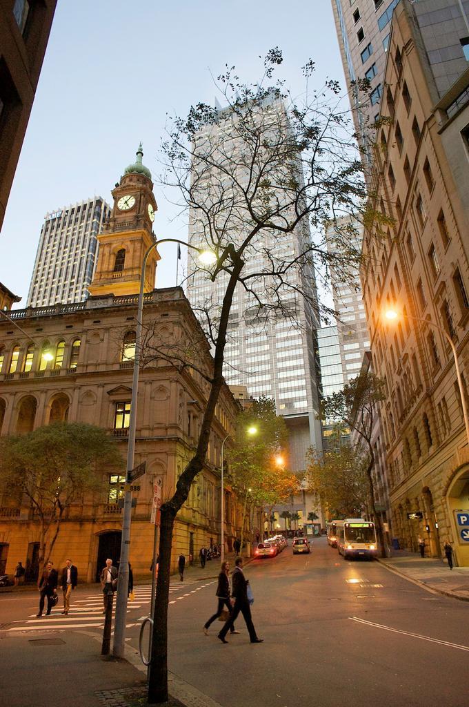 Spring Street at dusk, Sydney, Australia : Stock Photo