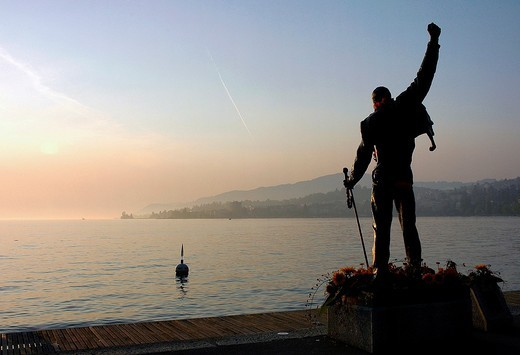 statue of Freddie Mercury, Montreux, Geneva Lake, Switzerland : Stock Photo