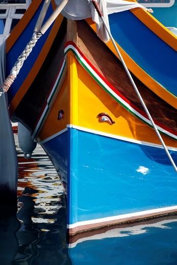 The Eye of Osiris on the Bow of a Fishing Boat, Marsaxlokk, Malta : Stock Photo