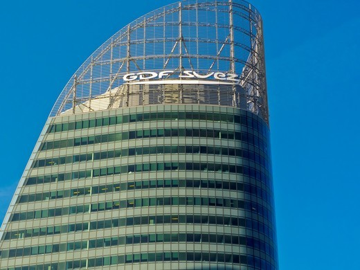 Stock Photo: 1566-836192 Paris, France, GDF-Suez Corporate Building in La Défense Business Center, Logo, Detail, Top