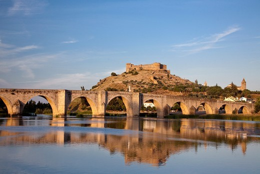 Stock Photo: 1566-837294 Spain-Spring 2011, Extremadura Region, Medellin City,birth place of Hernan Cortes, Guadiana river,medieval bridge and castle