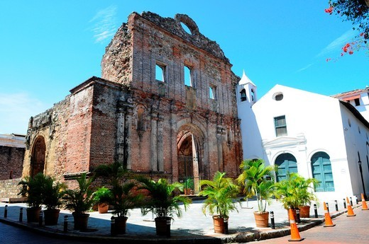 Convento de Santo Domingo, the church and convent of Santo Domingo, the flat arch, arco chato, Casco Viejo, historic district and cultural gem of Panama City, declared a world heritage site by UNESCO in 1997, Panama City, Republic of Panama, Central Ameri. Convento de Santo Domingo, the church and convent of Santo Domingo, the flat arch, arco chato, Casco Viejo, historic district and cultural gem of Panama City, declared a world heritage site by UNESCO in 1997, Panama City, Republic of Panama, C : Stock Photo
