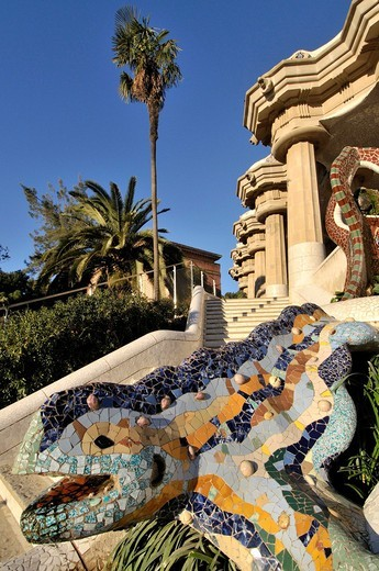 Stock Photo: 1566-838510 Park Güell. Garden complex with architectural elements situated on the hill of el Carmel. Designed by the Catalan architect Antoni Gaudí and built in the years 1900 to 1914. UNESCO World Heritage. Gràcia district of Barcelona. Catalonia, Spain