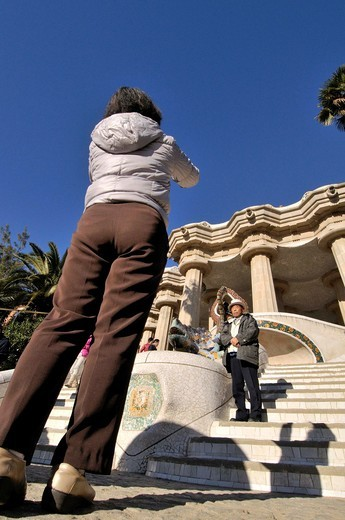 Stock Photo: 1566-838519 Park Güell. Garden complex with architectural elements situated on the hill of el Carmel. Designed by the Catalan architect Antoni Gaudí and built in the years 1900 to 1914. UNESCO World Heritage. Gràcia district of Barcelona. Catalonia, Spain