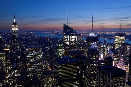 MIDTOWN SKYLINE MANHATTAN NEW YORK CITY USA : Stock Photo