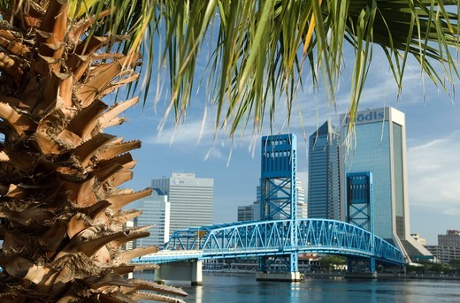 Stock Photo: 1566-839347 SAINT JOHNS RIVER DOWNTOWN SKYLINE JACKSONVILLE FLORIDA USA