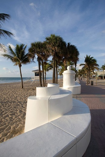 Stock Photo: 1566-839469 CAFES SOUTH SEABREEZE BOULEVARD BEACH WAVE WALL PROMENADE FORT LAUDERDALE FLORIDA USA