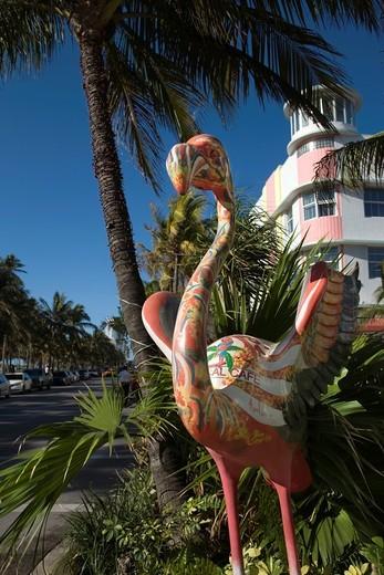 Stock Photo: 1566-839531 FLAMINGO SCULPTURE OCEAN DRIVE SOUTH BEACH MIAMI BEACH FLORIDA USA
