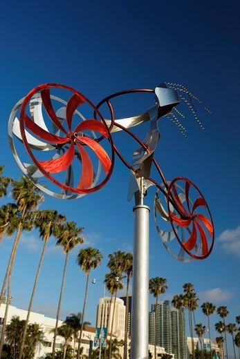 Stock Photo: 1566-840409 MY BIKE SCULPTURE BY AMOS ROBINSON EMBARCADERO SKYLINE DOWNTOWN SAN DIEGO CALIFORNIA USA