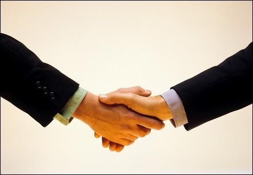 Stock Photo: 1566-840744 2 men handshaking