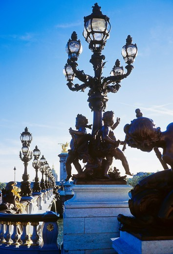 Stock Photo: 1566-840765 Statues and candelabras on Alexander III bridge, Paris, France