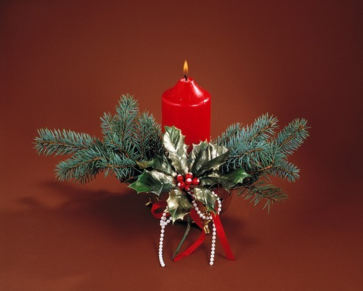 Stock Photo: 1566-840969 religion, Christianity, feast, festive season, Christmas, Christmas decoration, Christmas floral arrangement, candle, fir branches