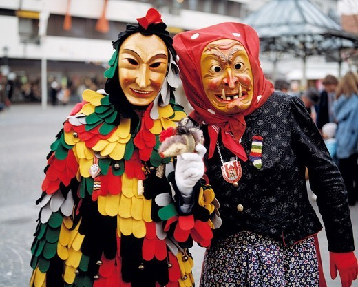 Swabian-Alemannic Fastnacht, masks carnival, Spaettlehansele, Offenburg witch, D-Offenburg, Kinzig Valley, Upper Rhine, Black Forest, Baden-Wuerttemberg : Stock Photo