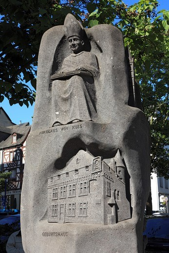 D-Koblenz, Rhine, Moselle, Maifeld, Eifel, Hunsrueck, Westerwald, Rhineland-Palatinate, monument to cardinal Nicholaus of Kues, relief stele, UNESCO World Heritage Site Oberes Mittelrheintal, Upper Middle Rhine : Stock Photo