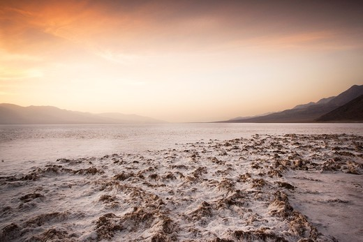 Stock Photo: 1566-841458 USA, California, Death Valley National Park, Badwater, elevation 282 feet below sea level, lowest point in the Western Hemisphere, sunset