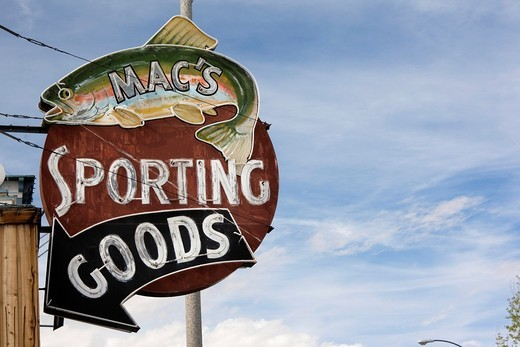 Stock Photo: 1566-841546 USA, California, Eastern Sierra Nevada Area, Bishop, sign for Macs Sporting Goods