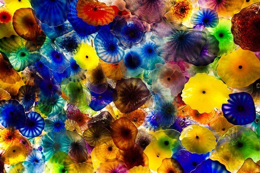 Stock Photo: 1566-841611 USA, Nevada, Las Vegas, The Bellagio Hotel, glass-flowered ceiling by Dale Chihuly
