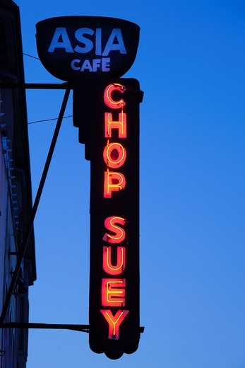 Stock Photo: 1566-841826 USA, California, Northern California, Napa Valley Wine Country, Napa, Asia Cafe, Chop Suey sign