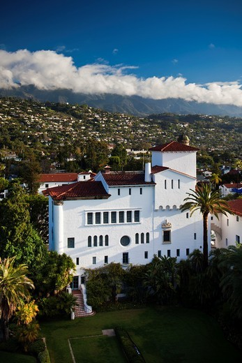 Stock Photo: 1566-841858 USA, California, Southern California, Santa Barbara, elevated city view from the Santa Barbara County Courthouse