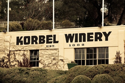 Stock Photo: 1566-842042 USA, California, Northern California, Russian River Wine Country, Korbel, Korbel Champagne Winery, exterior