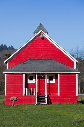 USA, California, Northern California, North Coast, Trinidad-area, Humbolt Lagoons State Park, red schoolhouse : Stock Photo