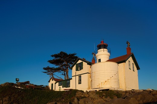 Stock Photo: 1566-842134 USA, California, Northern California, North Coast, Crescent City, Battery Point Lighthouse, sunset
