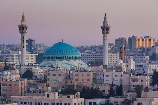 Jordan, Amman, elevated view King Abdullah Mosque, dawn : Stock Photo