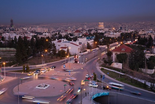 Stock Photo: 1566-842240 Jordan, Amman, elevated view of city and Zahran Street from the Fourth Circle, dusk