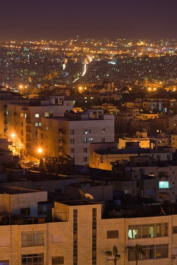 Stock Photo: 1566-842243 Jordan, Amman, elevated view of city from the Fourth Circle, dusk