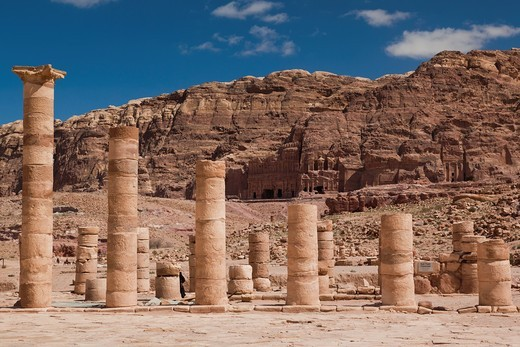 Jordan, Petra-Wadi Musa, Ancient Nabatean City of Petra, columns at the Upper Temenos : Stock Photo