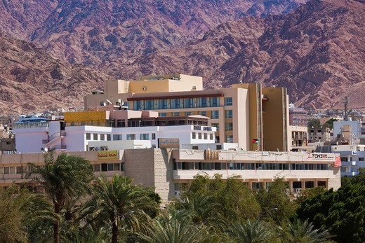 Stock Photo: 1566-842346 Jordan, Aqaba, elevated view of downtown