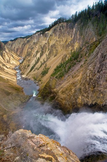 Looking down the Yellowstone River Canyon, from Lower Yellowstone Falls, Yellowstone National Park, Wyoming : Stock Photo
