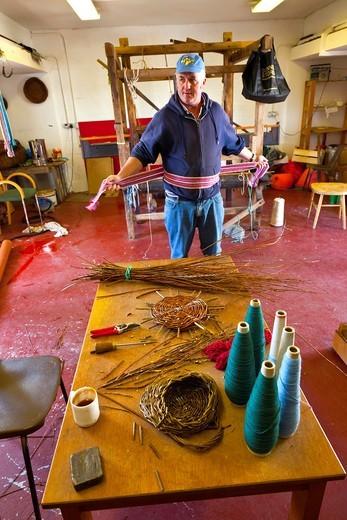Mairtin Taimín basket artisan  Aras Eanna Arts Center  Inisheer Island - Inis Oirr  Aran Islands, Galway County, West Ireland, Europe : Stock Photo