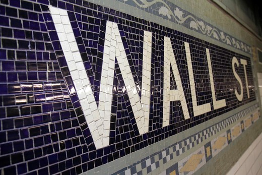 New York, New York City, NYC, Lower, Manhattan, Financial District, FiDi, MTA New York City Subway, rapid transit system, Wall Street Station, 4, 5 Route, Lexington Avenue Express, waiting platform, name tablet, mosaic, tiles, public transportation, : Stock Photo